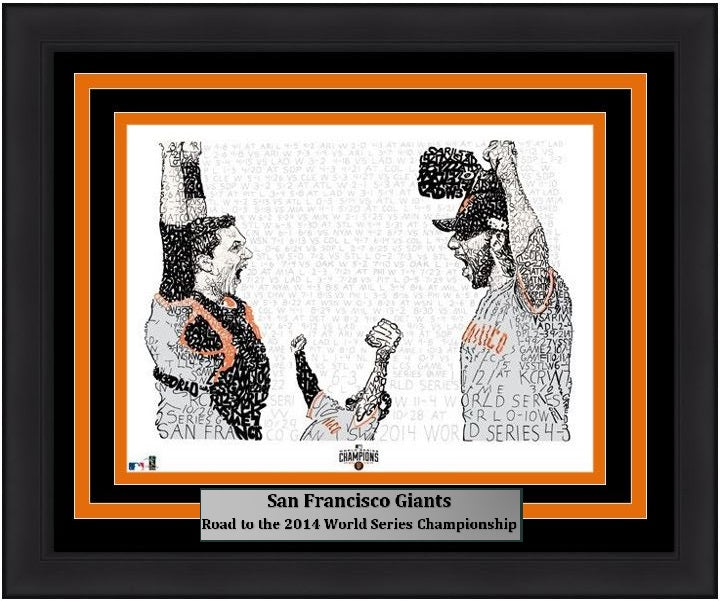 "San Francisco Giants Madison Bumgarner, Pablo Sandoval, & Buster Posey 2014 World Series Daniel Duffy Word Art 16"" x 20"" Framed and Matted Photo"