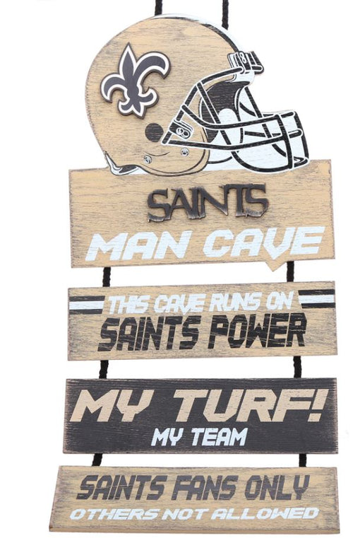 New Orleans Saints NFL Football Wooden Helmet Man Cave Dangle Sign - Dynasty Sports & Framing