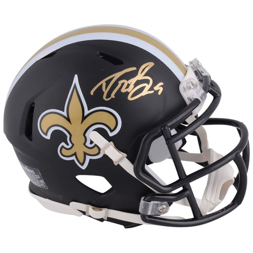 Drew Brees New Orleans Saints Autographed NFL Football Alternate Black Matte Speed Mini-Helmet