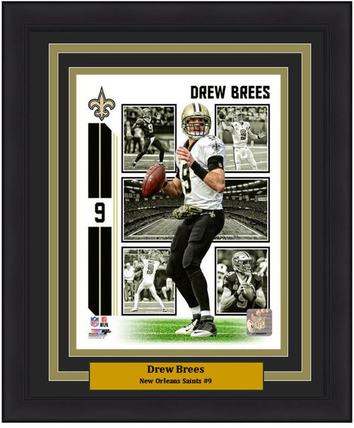 "Drew Brees Player Collage New Orleans Saints NFL Football 8"" x 10"" Framed and Matted Photo"