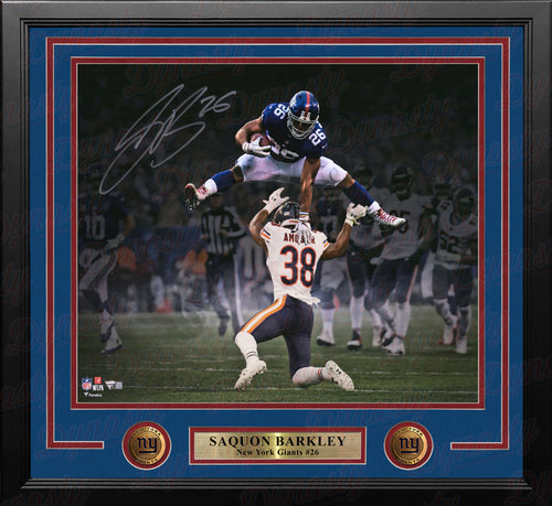 Saquon Barkley Hurdle New York Giants Autographed 16x20 Framed Photo - Dynasty Sports & Framing