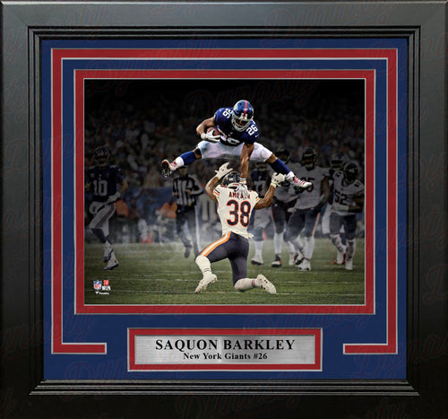 "Saquon Barkley Blackout Hurdle New York Giants 8"" x 10"" Framed Football Photo - Dynasty Sports & Framing"