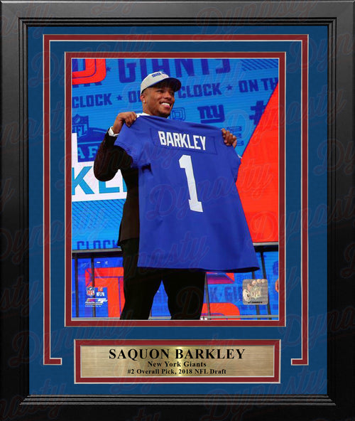 "Saquon Barkley 2018 Draft New York Giants 8"" x 10"" Framed Football Photo - Dynasty Sports & Framing"