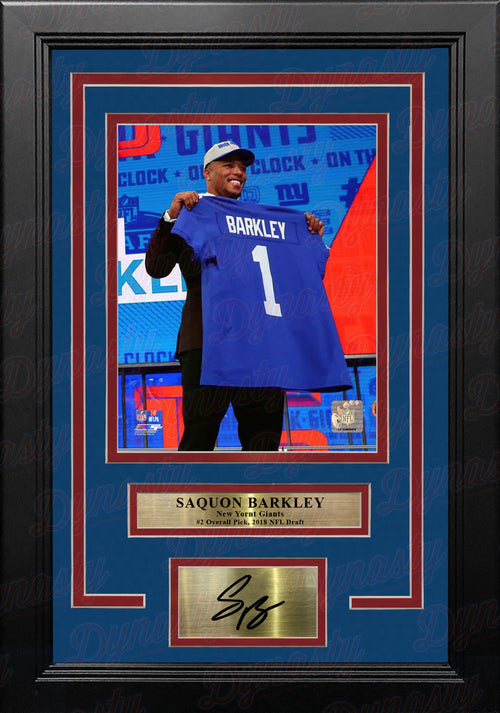 "Saquon Barkley 2018 Draft New York Giants 8"" x 10"" Framed Football Photo with Engraved Autograph - Dynasty Sports & Framing"
