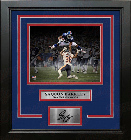 Saquon Barkley Blackout Hurdle New York Giants 8x10 Framed Football Photo with Engraved Autograph - Dynasty Sports & Framing
