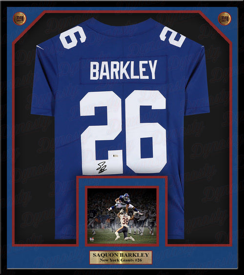 Saquon Barkley New York Giants Autographed Framed Jersey - Beckett Authenticated - Dynasty Sports & Framing