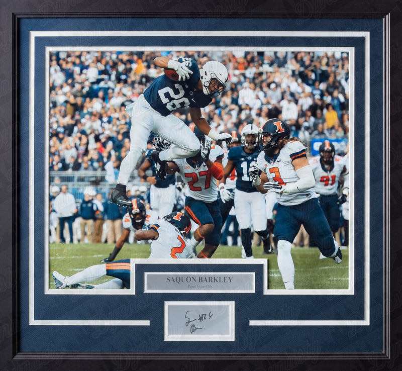 Penn State Nittany Lions Saquon Barkley Engraved Autograph College Football Framed & Matted Photo (Dynasty Signature Collection)