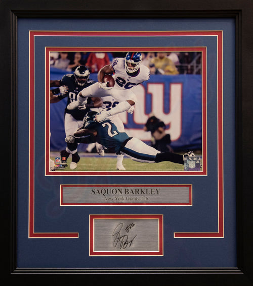 "New York Giants Saquon Barkley v. The Eagles Engraved Autograph NFL Football 8"" x 10"" Framed & Matted Photo (Dynasty Signature Collection)"