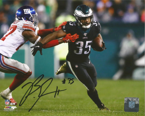 Boston Scott v. Giants Monday Night Football Philadelphia Eagles Autographed Photo - Dynasty Sports & Framing
