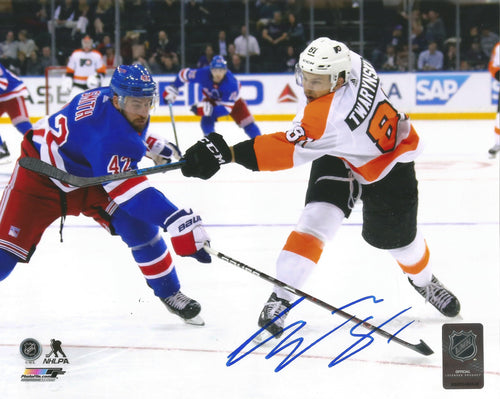 Carsen Twarynski Philadelphia Flyers in Action Autographed NHL Hockey Photo - Dynasty Sports & Framing