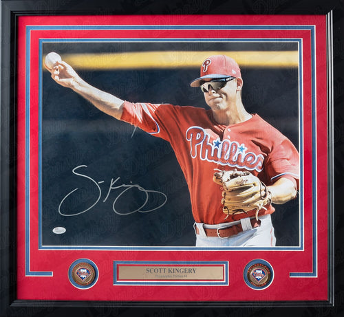 Philadelphia Phillies Scott Kingery Throw Autographed MLB Baseball Framed and Matted Photo