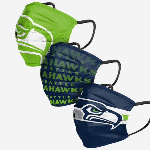 Seattle Seahawks 3-Pack Match Day Face Mask Covers - Dynasty Sports & Framing
