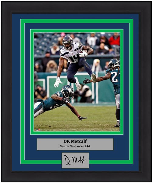 "DK Metcalf in Action Seattle Seahawks 8"" x 10"" Framed Football Photo with Engraved Autograph"