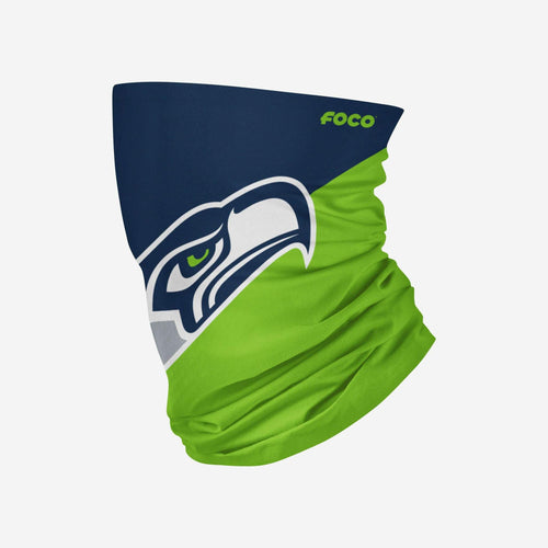 Seattle Seahawks Colorblock Big Logo Gaiter Scarf - Dynasty Sports & Framing