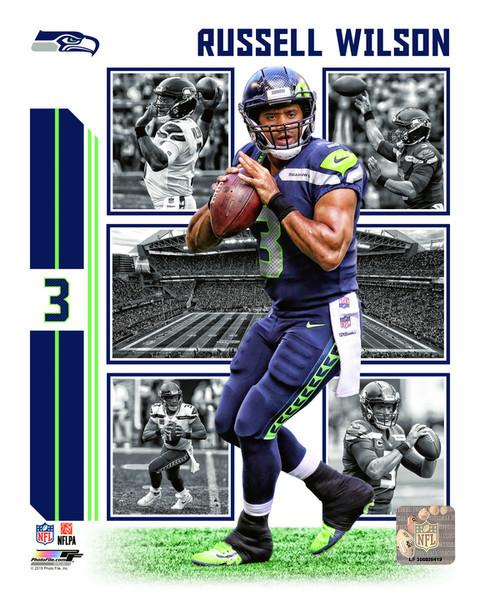 "Russell Wilson Player Collage Seattle Seahawks NFL Football 8"" x 10"" Photo"