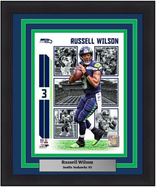 "Russell Wilson Player Collage Seattle Seahawks NFL Football 8"" x 10"" Framed and Matted Photo"