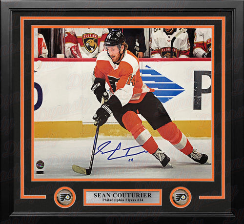 "Sean Couturier in Orange Autographed Philadelphia Flyers 11"" x 14"" Framed Hockey Photo - Dynasty Sports & Framing"