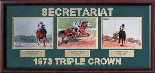 Horse Racing Ron Turcotte & Secretariat 1973 Triple Crown Winner Framed and Matted Collage