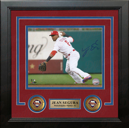 Jean Segura Philadelphia Phillies Throw Autographed MLB Baseball Framed and Matted Photo - Dynasty Sports & Framing