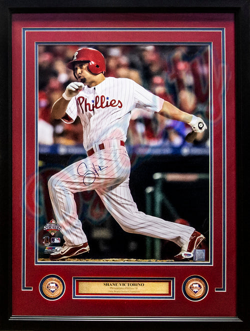"Shane Victorino 2008 World Series Philadelphia Phillies MLB Baseball Autographed 16"" x 20"" Framed and Matted Photo"