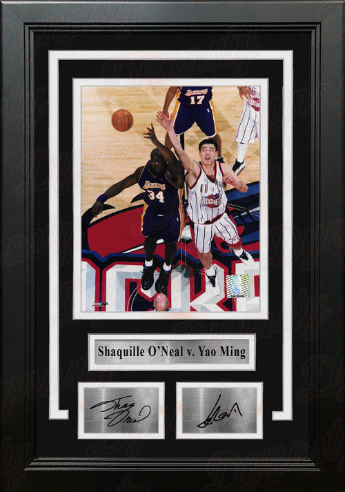 "Shaquille O'Neal v. Yao Ming 8"" x 10"" Framed Basketball Photo with Engraved Autographs - Dynasty Sports & Framing"
