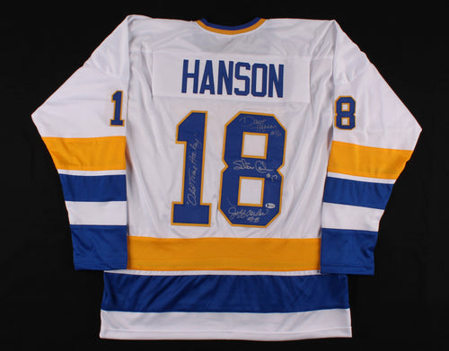 Hanson Brothers Autographed Slap Shot Charlestown Chiefs Jersey with 'Old Time Hockey' Inscription - Dynasty Sports & Framing