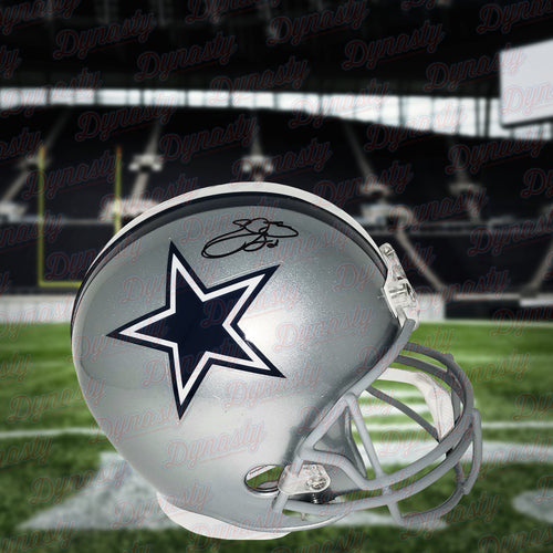 Emmitt Smith Dallas Cowboys Autographed NFL Football Full-Size Helmet - Dynasty Sports & Framing