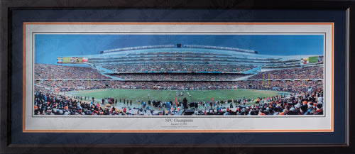 Chicago Bears Soldier Field 2007 NFC Champions NFL Football Rob Arra Framed and Matted Stadium Panorama - Dynasty Sports & Framing