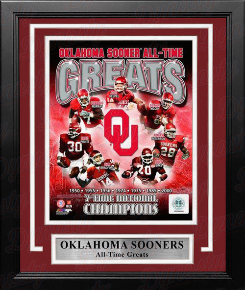 "Oklahoma Sooners All-Time Greats NCAA College Football 8"" x 10"" Framed and Matted Photo - Dynasty Sports & Framing"