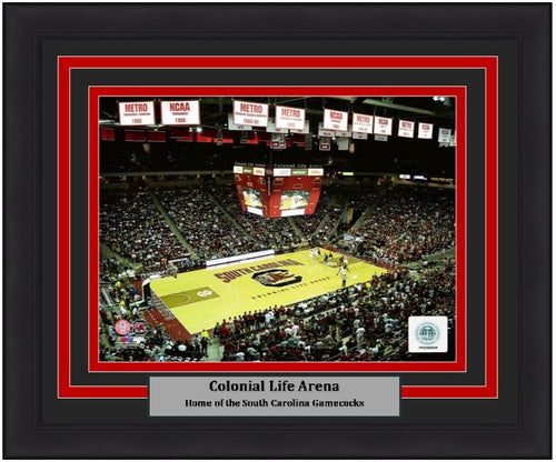 "South Carolina Gamecocks Colonial Life Arena 8"" x 10"" Framed College Basketball Stadium Photo - Dynasty Sports & Framing"