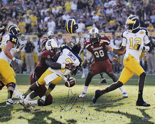 "Jadeveon Clowney South Carolina Gamecocks 'The Hit' v. Michigan Autographed NCAA College Football 2013 Outback Bowl 16"" x 20"" Photo"