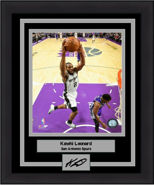 "Kawhi Leonard Slam Dunk San Antonio Spurs 8"" x 10"" Framed Basketball Photo with Engraved Autograph - Dynasty Sports & Framing"