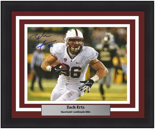 "Zach Ertz in Action Stanford Cardinals Autographed NCAA College Football 8"" x 10"" Framed and Matted Photo"