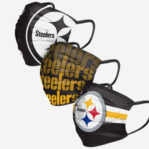 Pittsburgh Steelers 3-Pack Match Day Face Mask Covers - Dynasty Sports & Framing