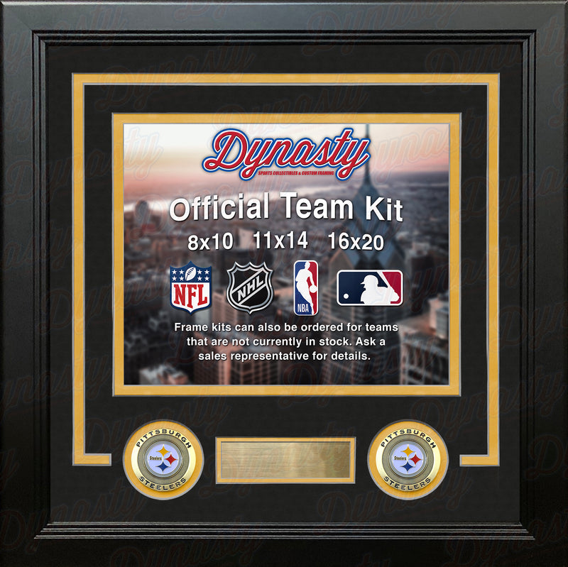 NFL Football Photo Picture Frame Kit - Pittsburgh Steelers (Black Matting, Yellow Trim) - Dynasty Sports & Framing