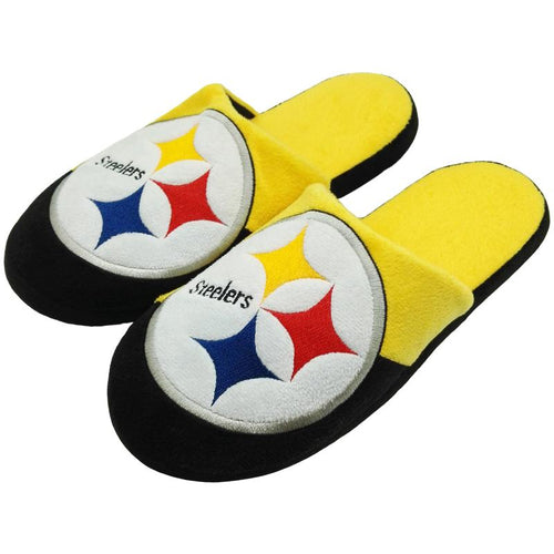 Pittsburgh Steelers Colorblock Big Logo Slippers - Dynasty Sports & Framing