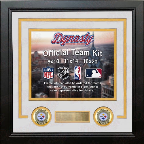 NFL Football Photo Picture Frame Kit - Pittsburgh Steelers (White Matting, Yellow Trim) - Dynasty Sports & Framing