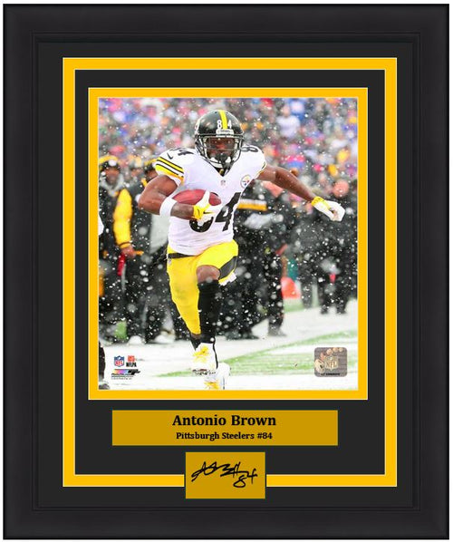"Pittsburgh Steelers Antonio Brown Engraved Autograph NFL Football 8"" x 10"" Framed and Matted Photo (Dynasty Signature Collection)"
