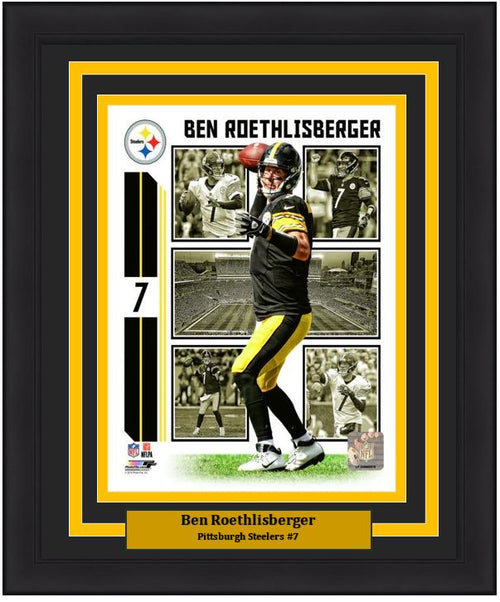 "Ben Roethlisberger Player Collage Pittsburgh Steelers NFL Football 8"" x 10"" Framed and Matted Photo"