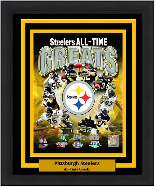 "Pittsburgh Steelers All-Time Greats NFL Football 8"" x 10"" Framed and Matted Photo"