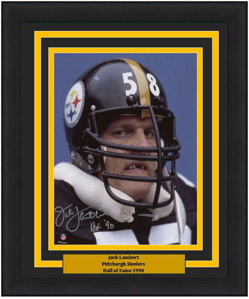 "Jack Lambert Snarl Pittsburgh Steelers Autographed 8"" x 10"" NFL Football Framed and Matted Photo with Hall of Fame Inscription"