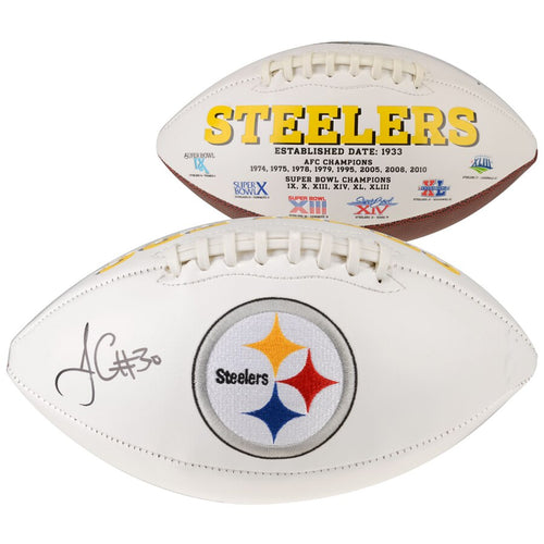 James Conner Pittsburgh Steelers Autographed NFL White Panel Football