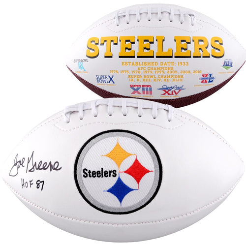 Joe Greene Pittsburgh Steelers Autographed NFL White Panel Football with Hall of Fame Inscription