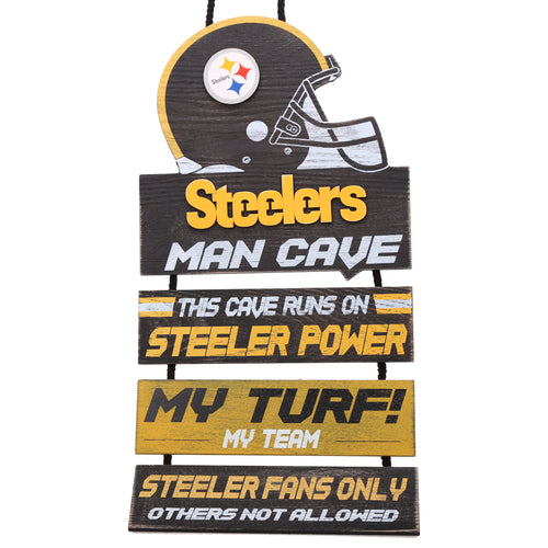 Pittsburgh Steelers NFL Football Wooden Man Cave Sign - Dynasty Sports & Framing