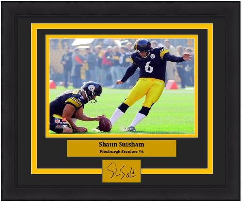 "Shaun Suisham in Action Pittsburgh Steelers 8"" x 10"" Framed Football Photo with Engraved Autograph - Dynasty Sports & Framing"