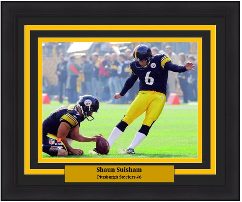 "Shaun Suisham in Action Pittsburgh Steelers 8"" x 10"" NFL Football Framed and Matted Photo - Dynasty Sports & Framing"