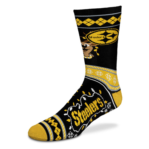 Pittsburgh Steelers Sweater Stripe Holiday Socks - Dynasty Sports & Framing
