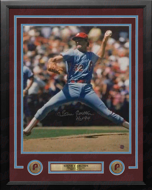 "Steve Carlton in Action Philadelphia Phillies Autographed 16"" x 20"" Framed Baseball Photo - Dynasty Sports & Framing"