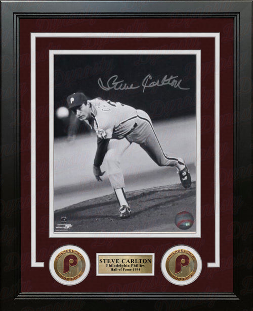 "Steve Carlton Philadelphia Phillies Autographed Black-and-White MLB Baseball 8"" x 10"" Framed Photo - Dynasty Sports & Framing"