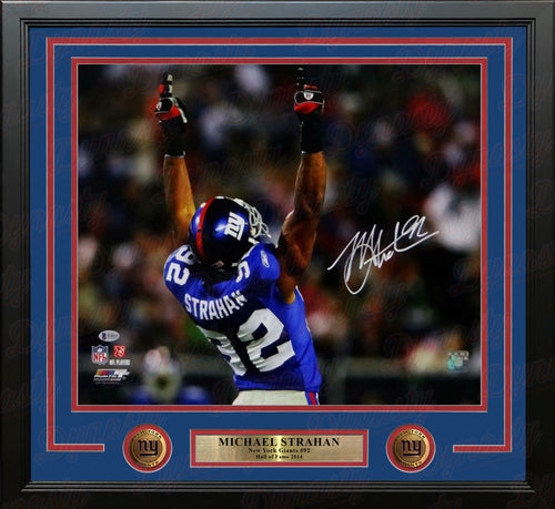 "Michael Strahan Celebrating New York Giants Autographed 16"" x 20"" Framed Photo - Dynasty Sports & Framing"